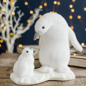 Christmas Fuzzy Father & Baby Penguin Decoration