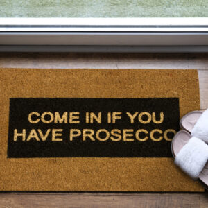 Come In If You Have Prosecco Glitter Door Mat