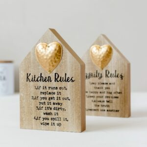 Wooden House Shaped Rules Plaque