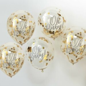 Gold Confetti Baby Shower Balloons