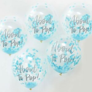 Blue Confetti Baby Shower Balloons