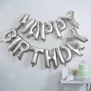 Self Inflated Silver Happy Birthday Balloon Bunting