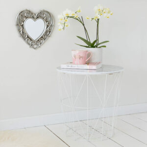 Marble Effect White Side Table