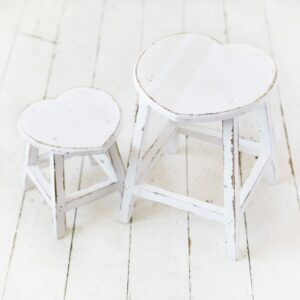 White Rustic Heart Stools