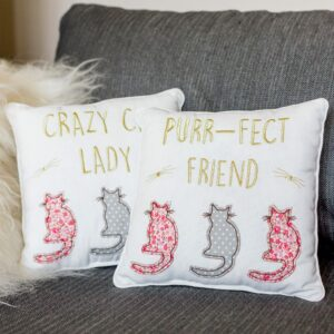 Crazy Cat Lady Or Purr-fect Friend Square Cat Cushion