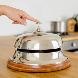 Large Aluminium Bell with Wooden Base