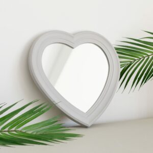 Grey Vintage Heart Shape Mirror