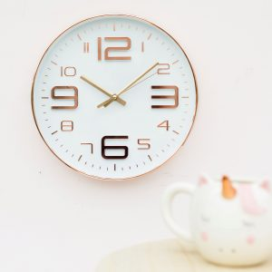 Large White Copper Embossed Clock