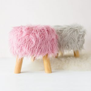 Grey Or Pink Fluffy Foot Stool