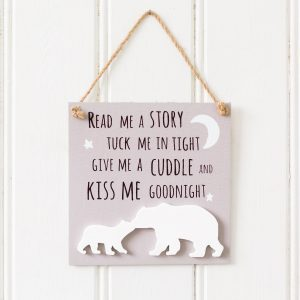 Kiss Me Goodnight Bear Wooden Plaque