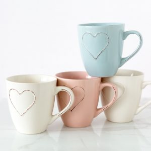 Blue, Pink Or Cream Heart Embossed Mug