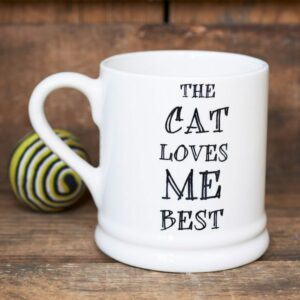 The Cat Loves Me Best Ceramic Mug