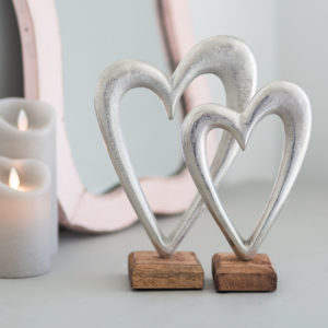 Set Of Two Metal Heart On Wooden Base