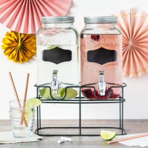 Vintage Style Double Glass Drink Dispenser