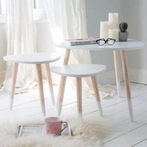 Set Of 3 White & Wooden Tables
