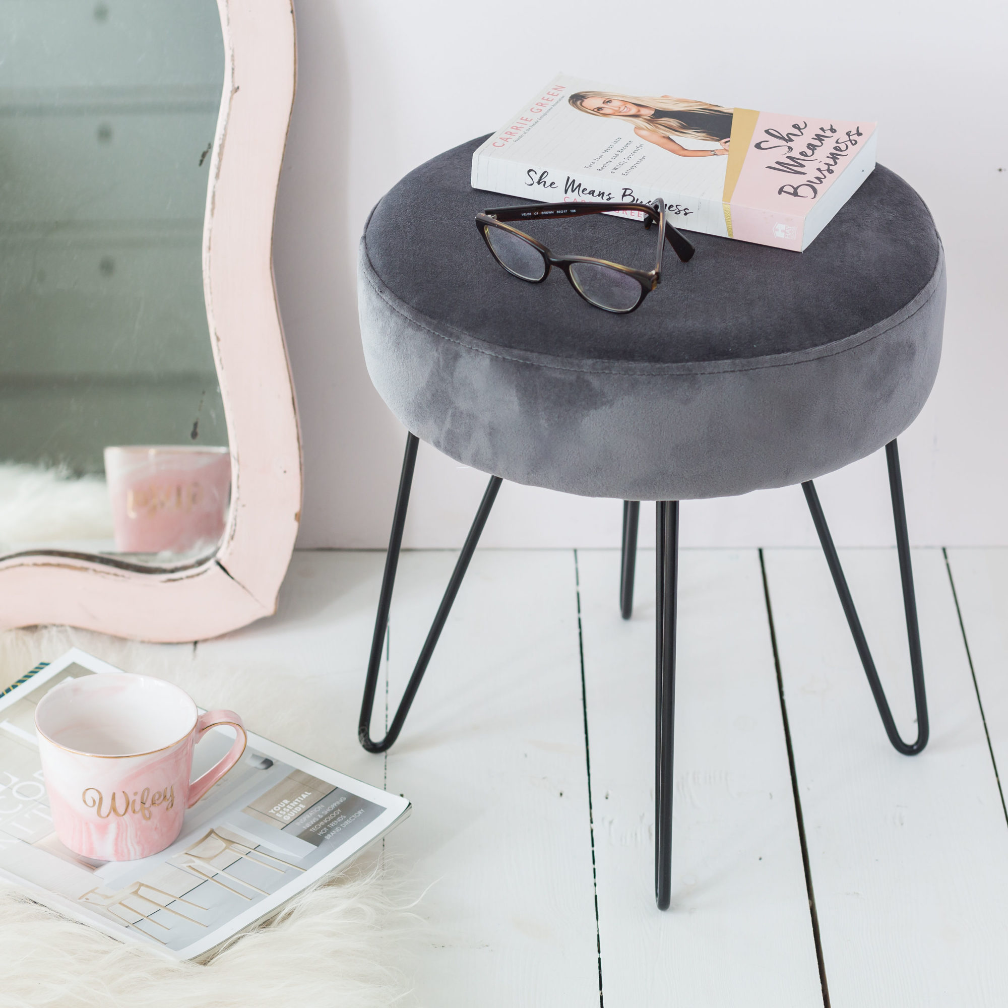 Grey Velvet Stool With Black Legs