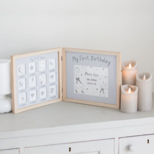 Dream Big Wooden & Grey Baby First Year Photo Frame