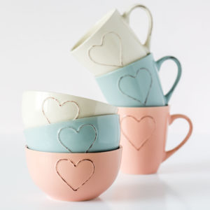 Blue, Pink Or Cream Heart Embossed Bowl
