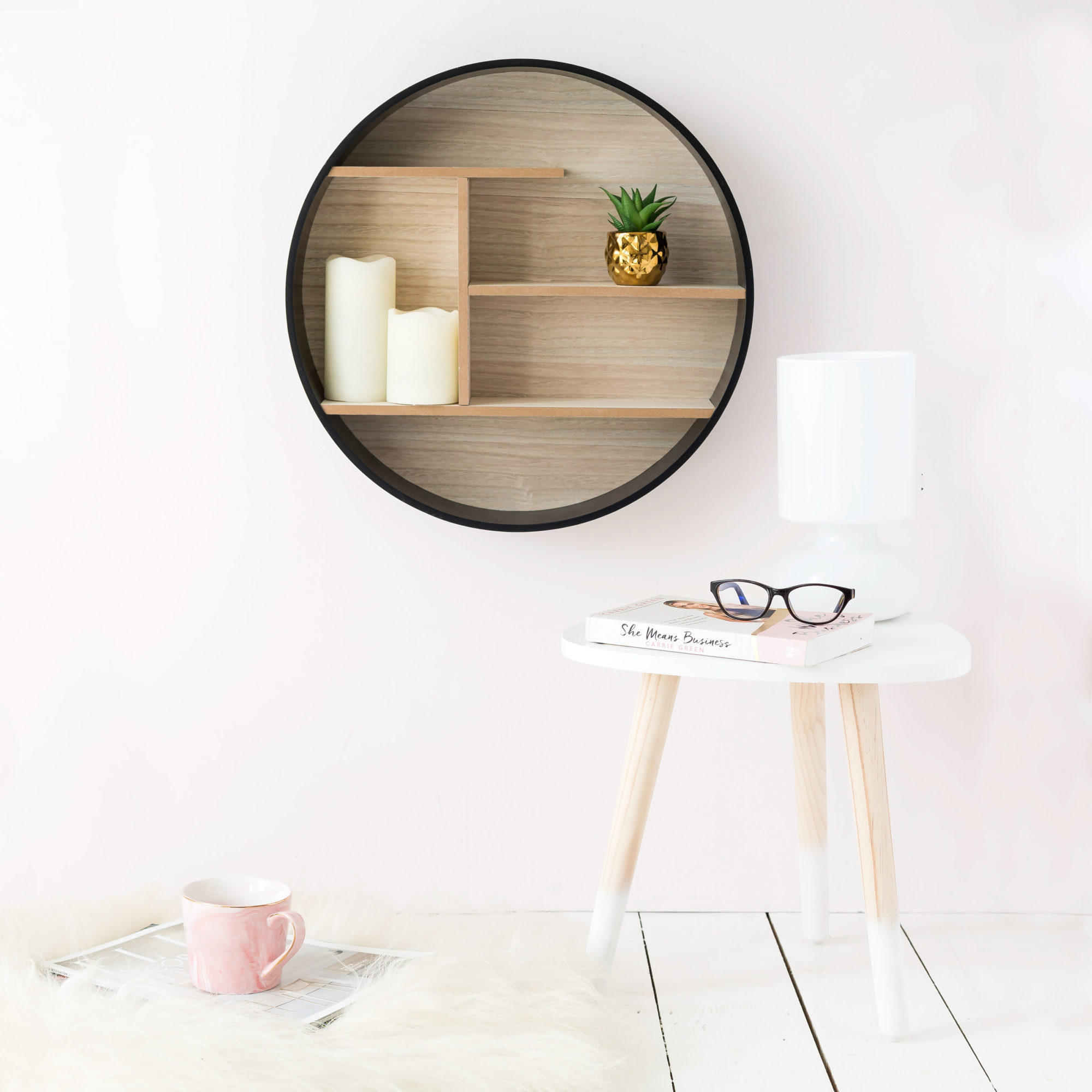 Round Black & Wooden Shelf Unit
