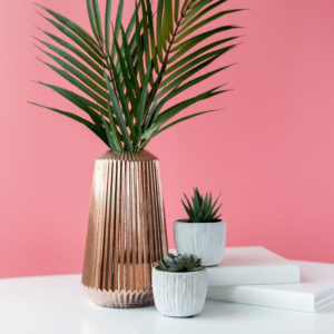 Small Rose Gold Ribbed Vase