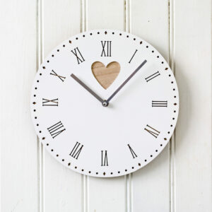 Heart Detail White & Wooden Round Wall Clock