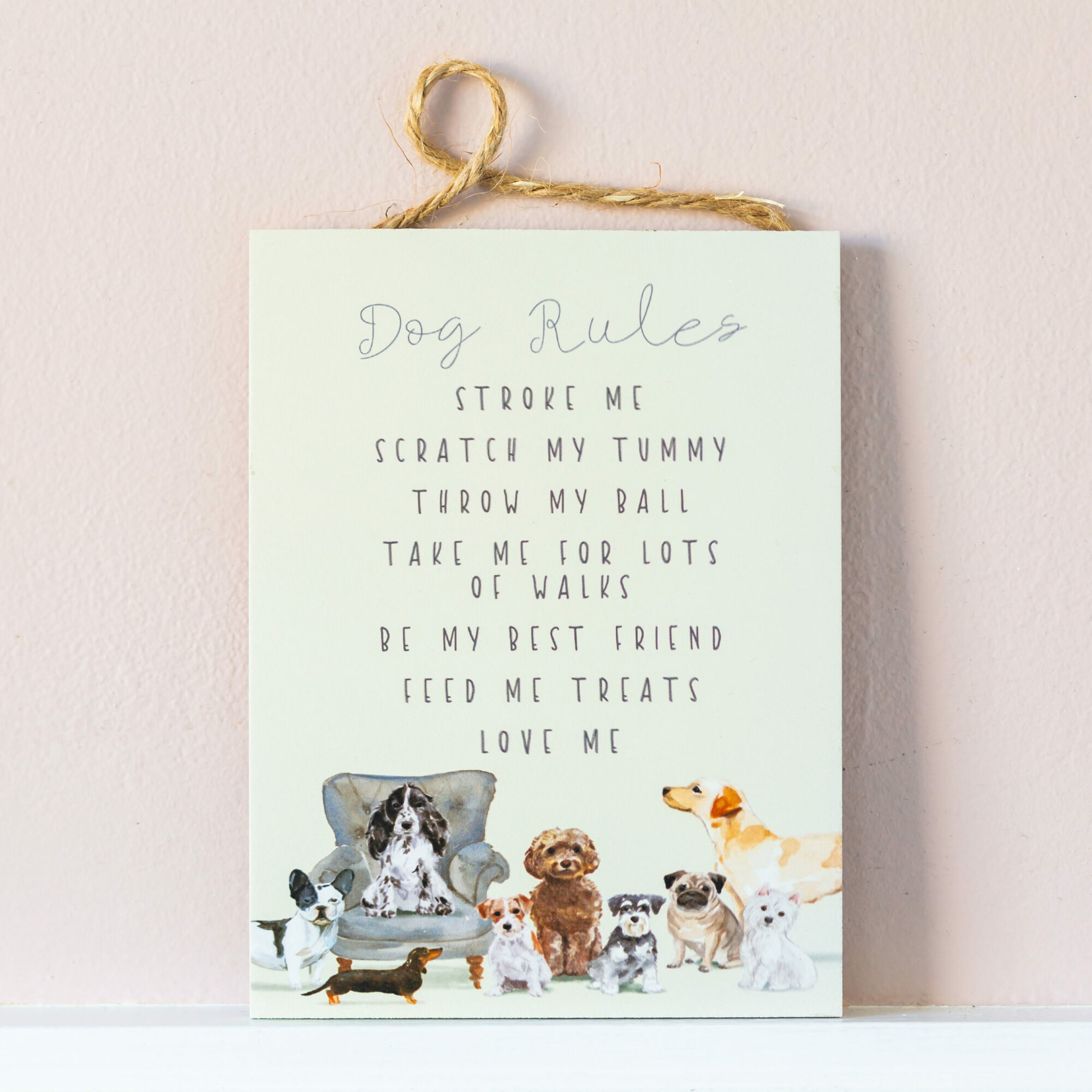 Dog Rules Wooden Hanging Plaque