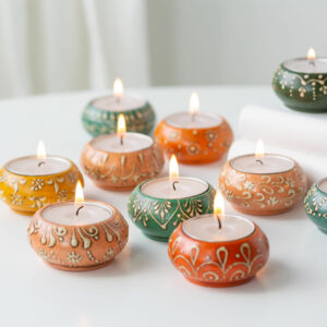 Set of 3 Assorted Multi Coloured Tealights and Holders
