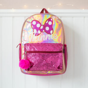 Kids Disney Minnie Mouse Gold & Pink Glitter Backpack