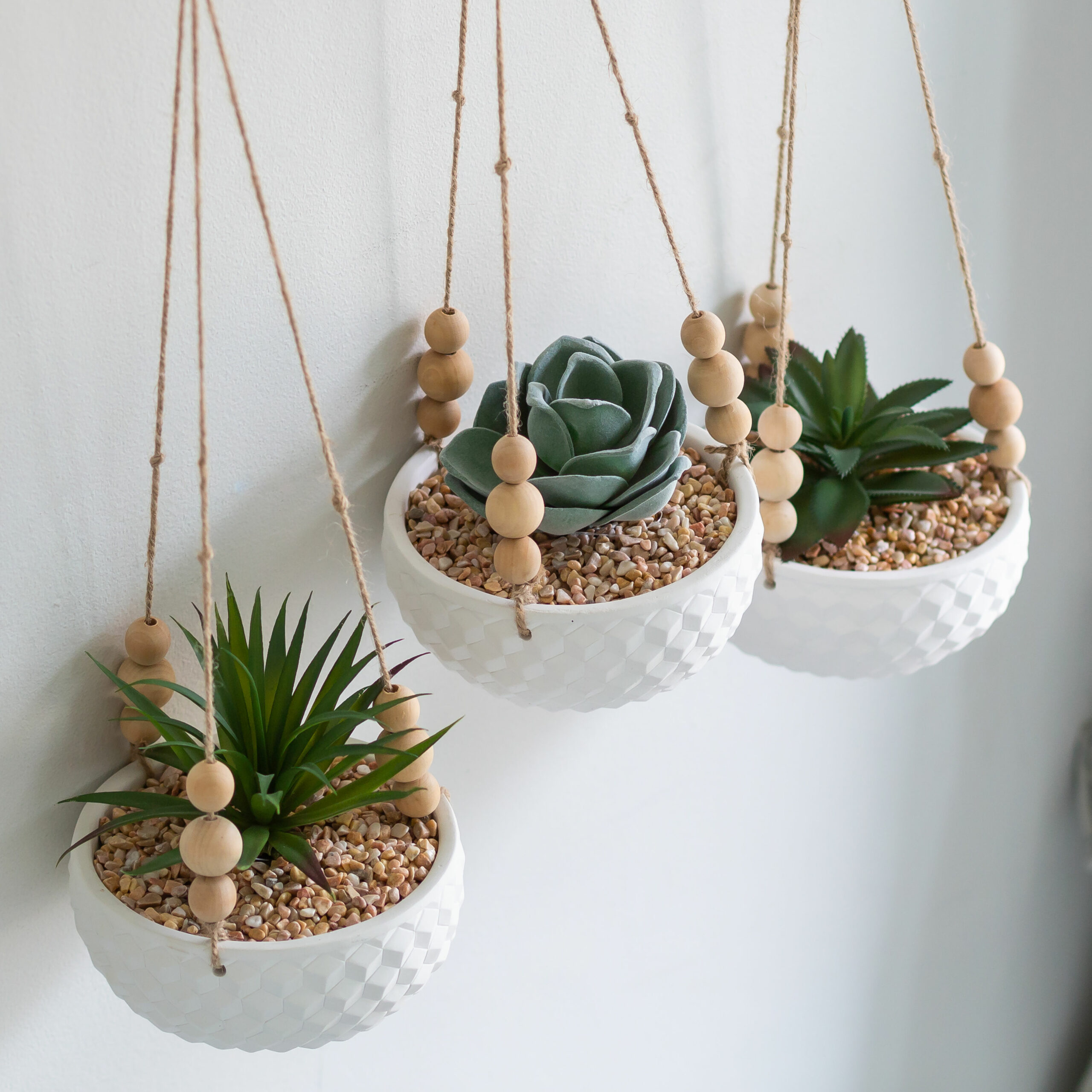 Faux Succulent Plant in Hanging Beaded Planter