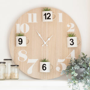 Large White & Wooden Round Clock With Plants
