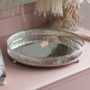 Mirrored Silver Candle Plate or Trinket Dish