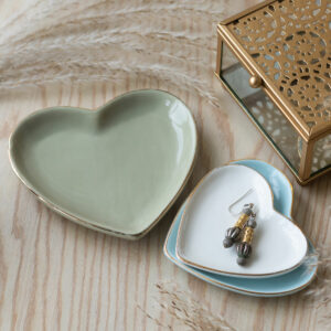 Set of 3 Pastel Heart Trinket Dishes With Gold Edge