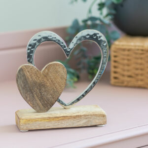 Double Heart On Wooden Base Ornament